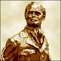 A statue of Douglas Bader that stands in Goodwood Aerodrome, West Sussex.