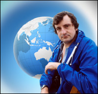 Douglas Adams, in front of the planet Earth - graphic by Jimster