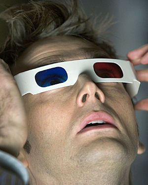 David Tennant wearing 3D glasses in a 2005 episode of Dr Who