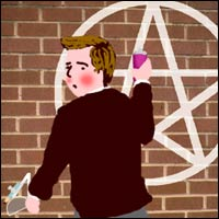 A schoolboy is caught in the act of spraying a pentagram onto a school wall. But at least he used a compass and protractor to do it.