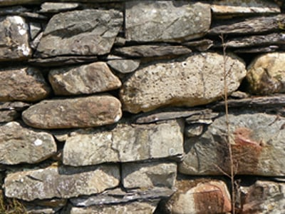 Close-up of a drystone wall.