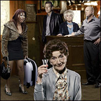 A special picture issued in February 2010 to celebrate 25 years of BBC One's flagship soap opera EastEnders.