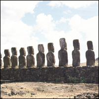 The backs of the mysterious statues of Easter Island.