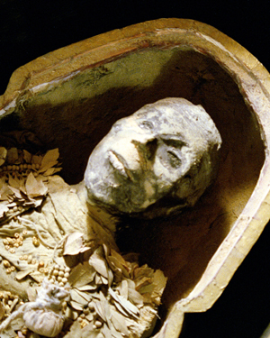 An Egyptian mummy seen in the programme 'Egypt: The Search For Tutankhamun'