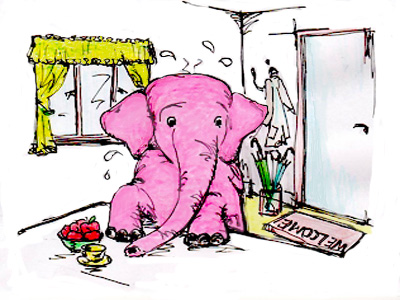 A large timid elephant cartoon, in a living room.