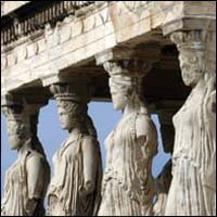 The ancient temple The Erechtheion on the Acropolis Hill in Athens.