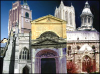 A collage of cathedrals from around Europe.