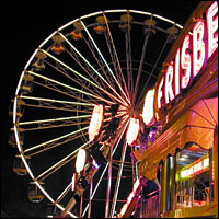 A ferris wheel in a theme park.