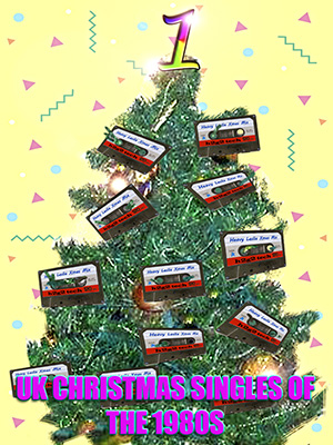 Audio cassettes on a Christmas tree in front of 1980s wallpaper