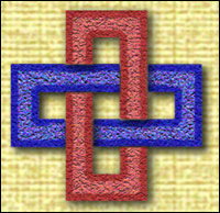 Blue and Red interlocking links - graphic by Community Artist<br/> Jimster.