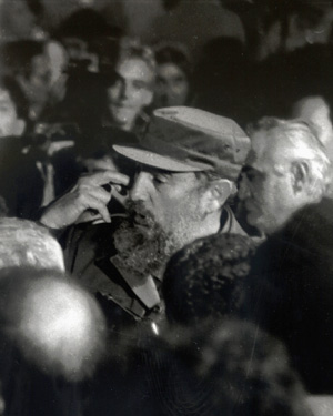Fidel Casto in a crowd