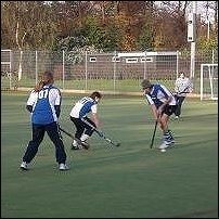 Field hockey in action.