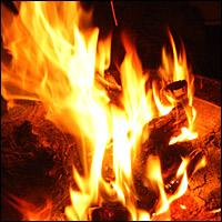 A blazing campfire.