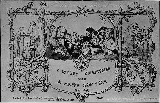 The first commercial Christmas card, 1843.