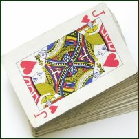 A pack of playing cards.