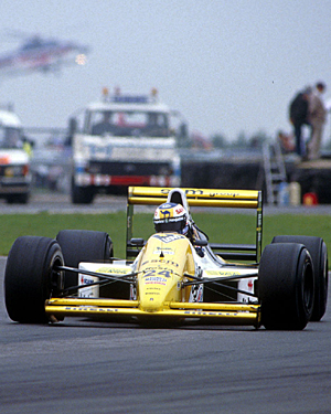 The Minardi Ford of Luis Sala during the British Grand Prix at Silverstone in 1989