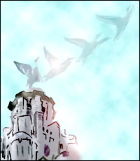 The bird on the top of the Liver Buildings takes flight.