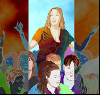 A group of people raving at a party. By Community Artist Jimster.