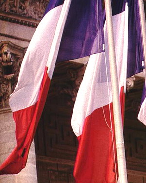 French Tricolore flags in Paris
