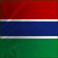 The national flag of the Gambia.