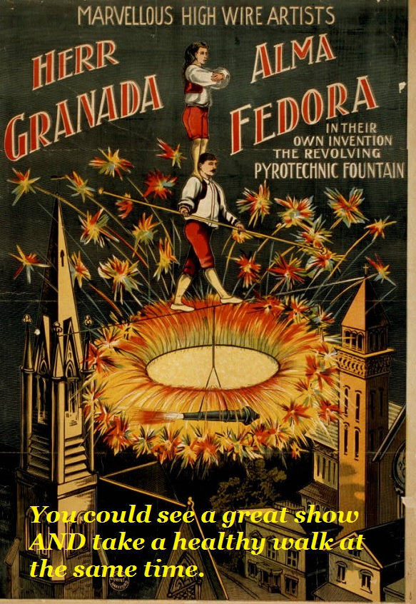 High wire fireworks, don't try this at home.