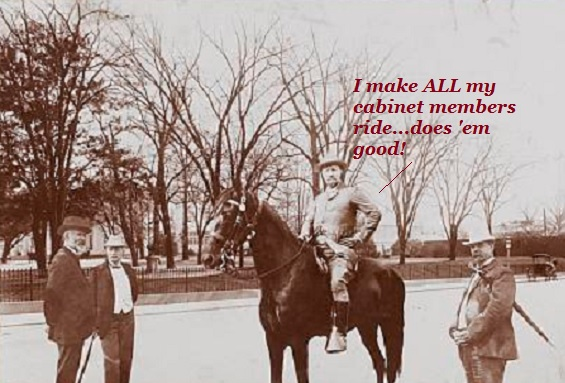 Teddy Roosevelt challenging the Secretary of Agriculture to ride a horse.