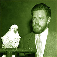 Famous conservationist Gerald Durrell, with a friend of the feathered variety.