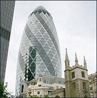 'The Gherkin' - or 30, St Mary Axe - London's famous new landmark.