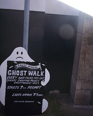 A ghost-shaped sign advertising a ghost walk in Lincolnshire