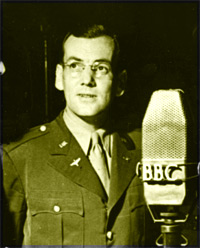 Glenn Miller, during one of his wartime broadcasts for the BBC.
