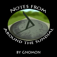 Gnomon's column image, showing a sundial surrounded with the words Notes From Around the Sundial'