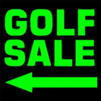 Mock-up of a big green 'GOLF SALE' sign with arrow pointing the way.