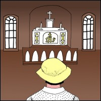 Illustration of Grace Gifford staring at an altar.