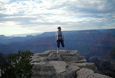 Bea admires the Grand Canyon, stretching as far as the eye can see