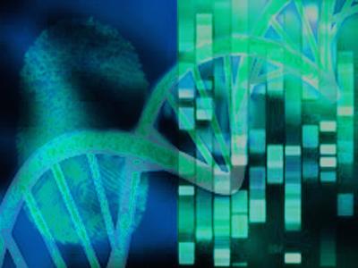 Artwork depicting DNA and fingerprint evidence.