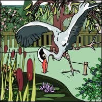 A cartoon of a grey heron, falling beak-first into a lawn.