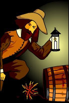 Guy Fawkes standing over a keg of gunpowder holding a lantern, sporting a fine beard