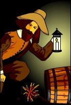 Guy Fawkes standing over a keg of gunpowder holding a lantern, sporting a fine beard
