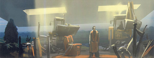 A design sketch for the Hitchhiker's Guide to the Galaxy movie showing Arthur Dent standing in the rubble of his house, while a huge spacecraft looms overhead.