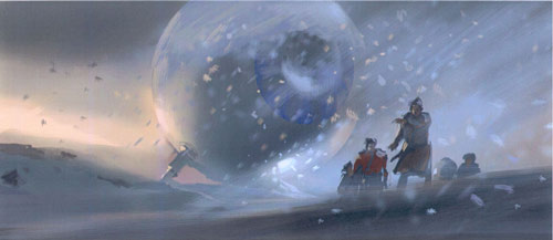 A design sketch for the Hitchhiker's Guide to the Galaxy movie showing beings on the surface of an alien world.
