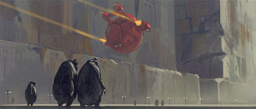 A design sketch for the Hitchhiker's Guide to the Galaxy movie showing a spacecraft flying over the heads of aliens.