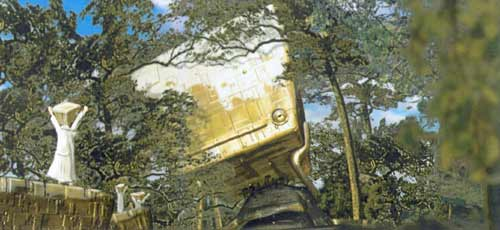 A design sketch for the Hitchhiker's Guide to the Galaxy movie showing a huge golden object lurking in the forest. Small beings appear to be worshipping it.
