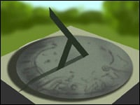 A sundial - the black bit like an upside-down y is the gnomon.