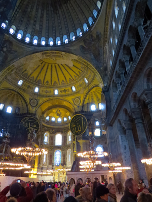 The interior of the Hagia Sophia in Istanbul.