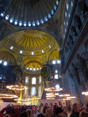 The interior of the Hagia Sophia in Istanbul.