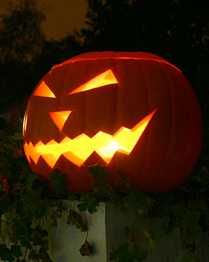 A scary-looking Halloween pumpkin