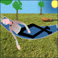 Illustration of a man lying in a hammock.