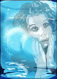 A woman, hung over, reflected against a glass of water containing two fizzing hang-over pills.