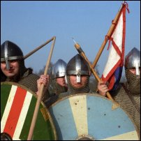 A re-enactment of soldiers fighting for King Harold at Hastings.