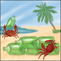Illustration of crabs on the seashore assembling a wall made from washed-up brick-shaped Heineken bottles.